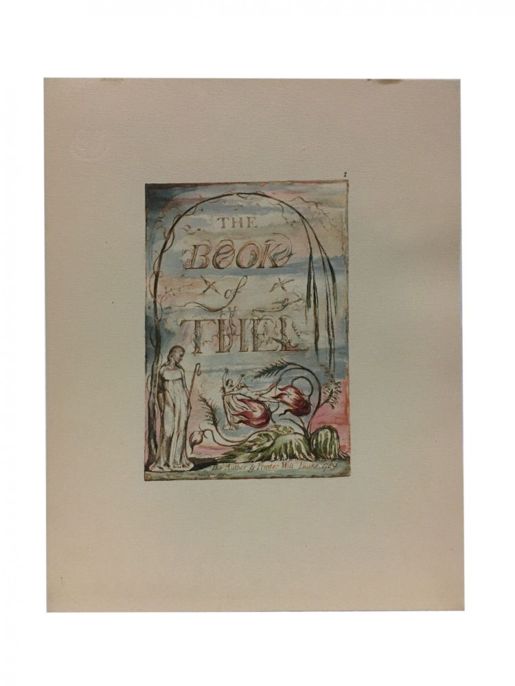 Individual Facsimile Prints from the Trianon Press; The Book of Thel, plate 1. William Blake.