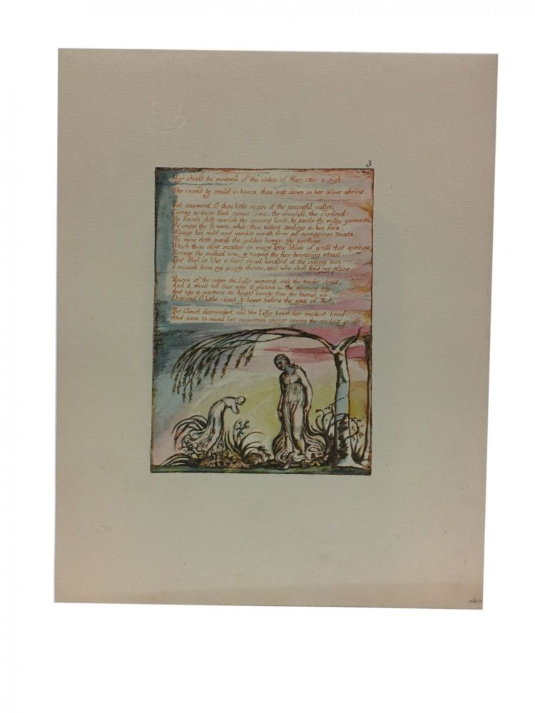 Individual Facsimile Prints from the Trianon Press; The Book of Thel, plate 5. William Blake.
