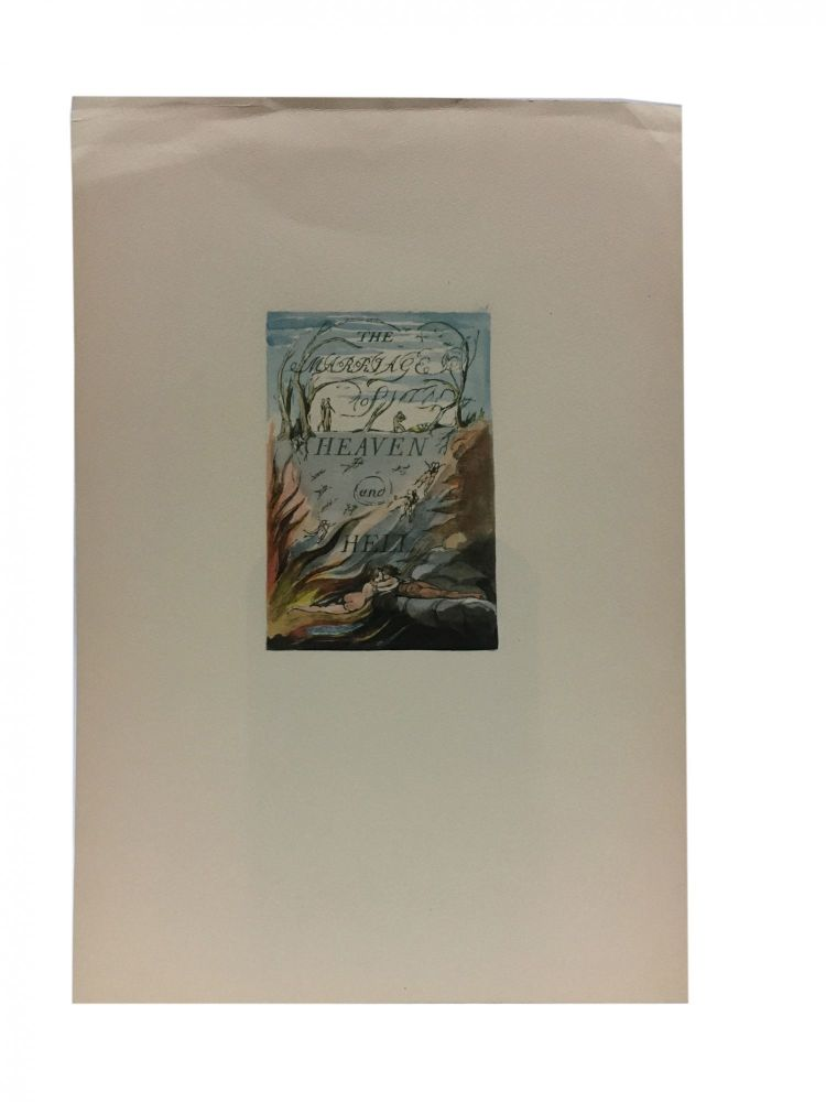Individual Facsimile Prints from the Trianon Press; The Marriage of Heaven and Hell, plate 1. William Blake.