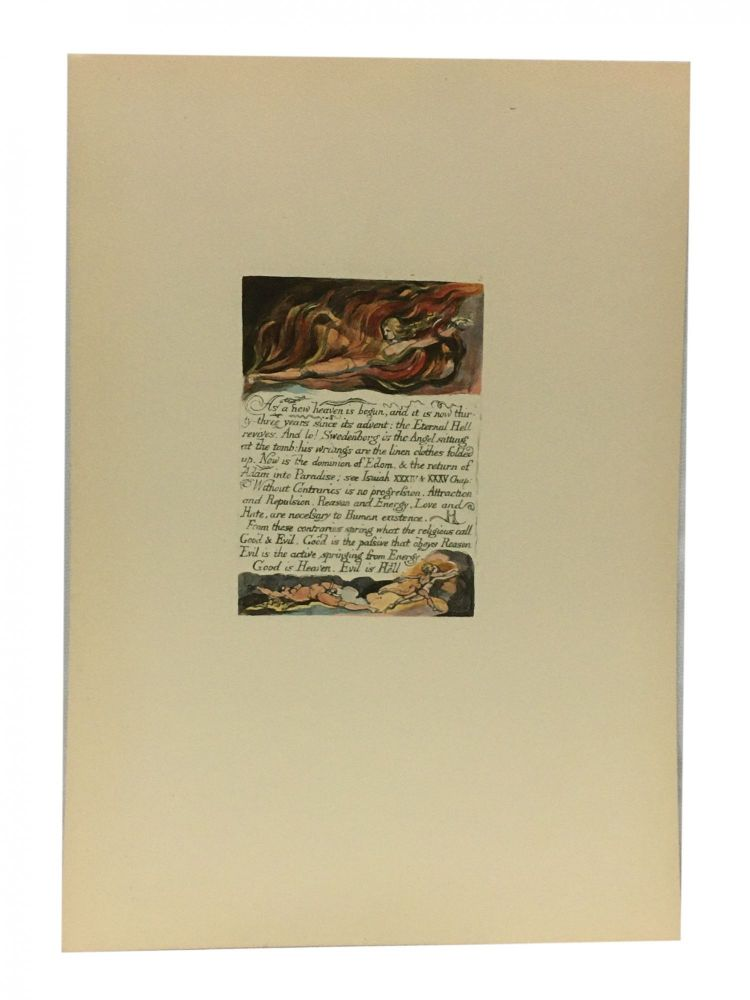 Individual Facsimile Prints from the Trianon Press; The Marriage of Heaven and Hell, plate 3. William Blake.
