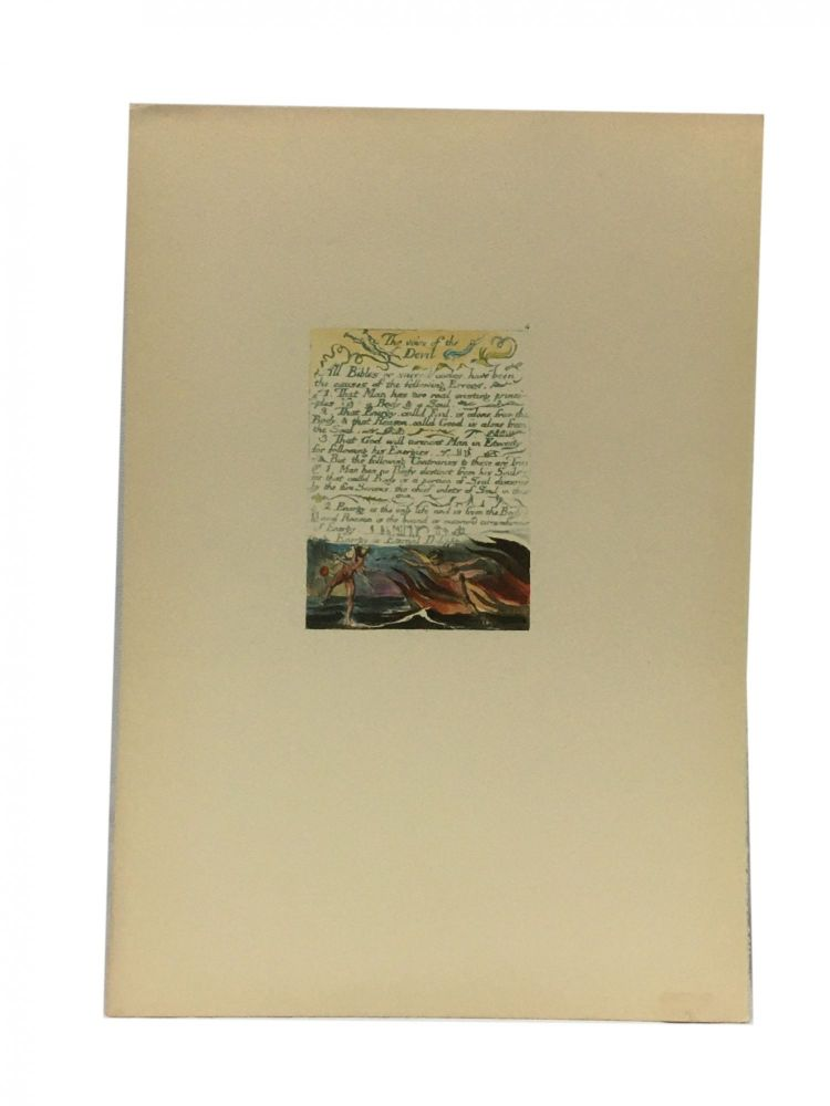 Individual Facsimile Prints from the Trianon Press; The Marriage of Heaven and Hell, plate 4. William Blake.