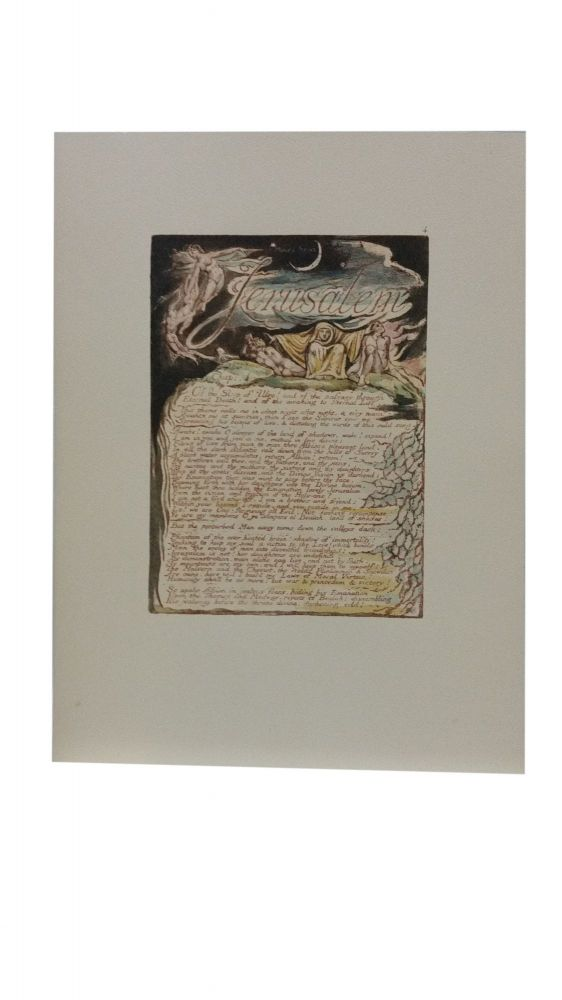 Individual Facsimile Prints from the Trianon Press; Jerusalem, Cunliffe Copy B, plate 4. William Blake.