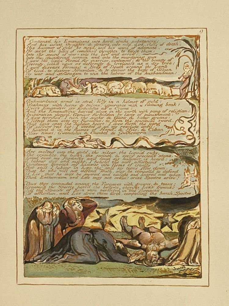 Individual Facsimile Prints from the Trianon Press; Jerusalem, Sterling Copy E, plate 9. William Blake.