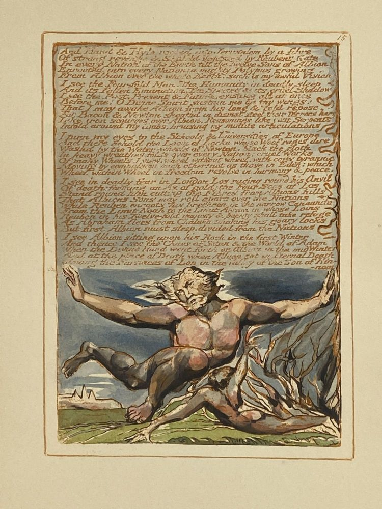 Individual Facsimile Prints from the Trianon Press; Jerusalem, Sterling Copy E, plate 15. William Blake.