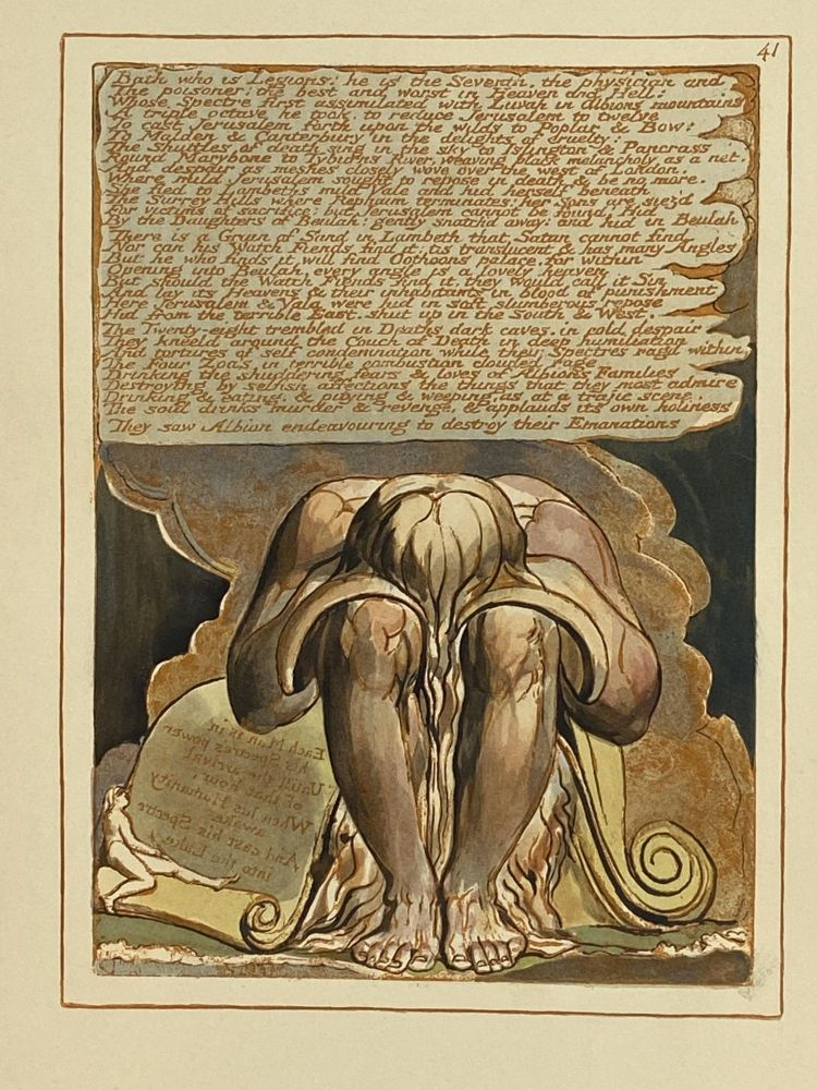 Individual Facsimile Prints from the Trianon Press; Jerusalem, Sterling Copy E, plate 41. William Blake.