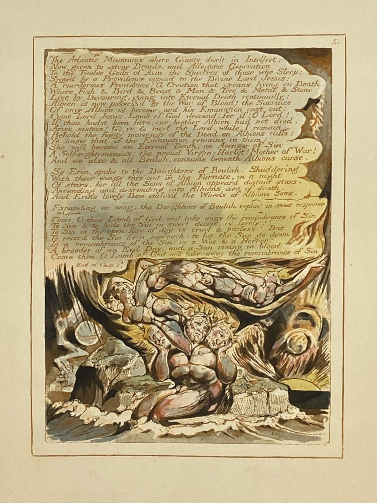 Individual Facsimile Prints from the Trianon Press; Jerusalem, Sterling Copy E, plate 50. William Blake.