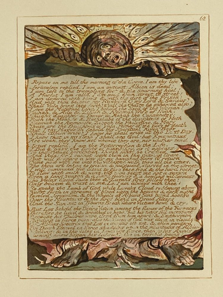 Individual Facsimile Prints from the Trianon Press; Jerusalem, Sterling Copy E, plate 62. William Blake.