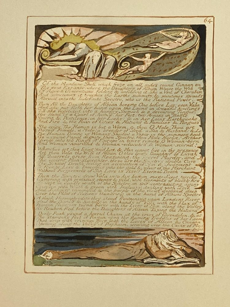Individual Facsimile Prints from the Trianon Press; Jerusalem, Sterling Copy E, plate 64. William Blake.