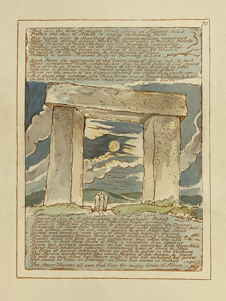 Individual Facsimile Prints from the Trianon Press; Jerusalem, Sterling Copy E, plate 70. William Blake.
