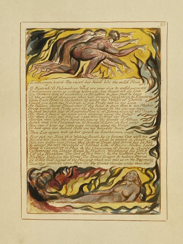Individual Facsimile Prints from the Trianon Press; Jerusalem, Sterling Copy E, plate 93. William Blake.