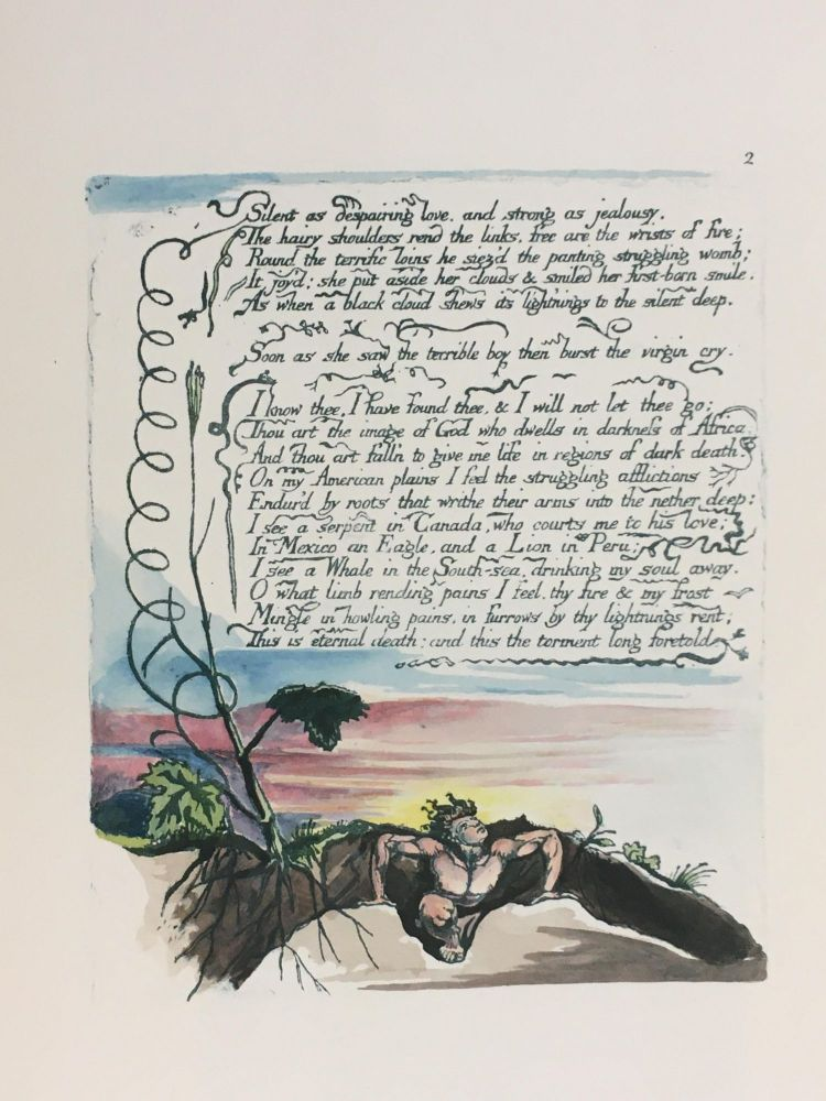 Individual Facsimile Prints from the Trianon Press; America A Prophecy, plate 2. William Blake.