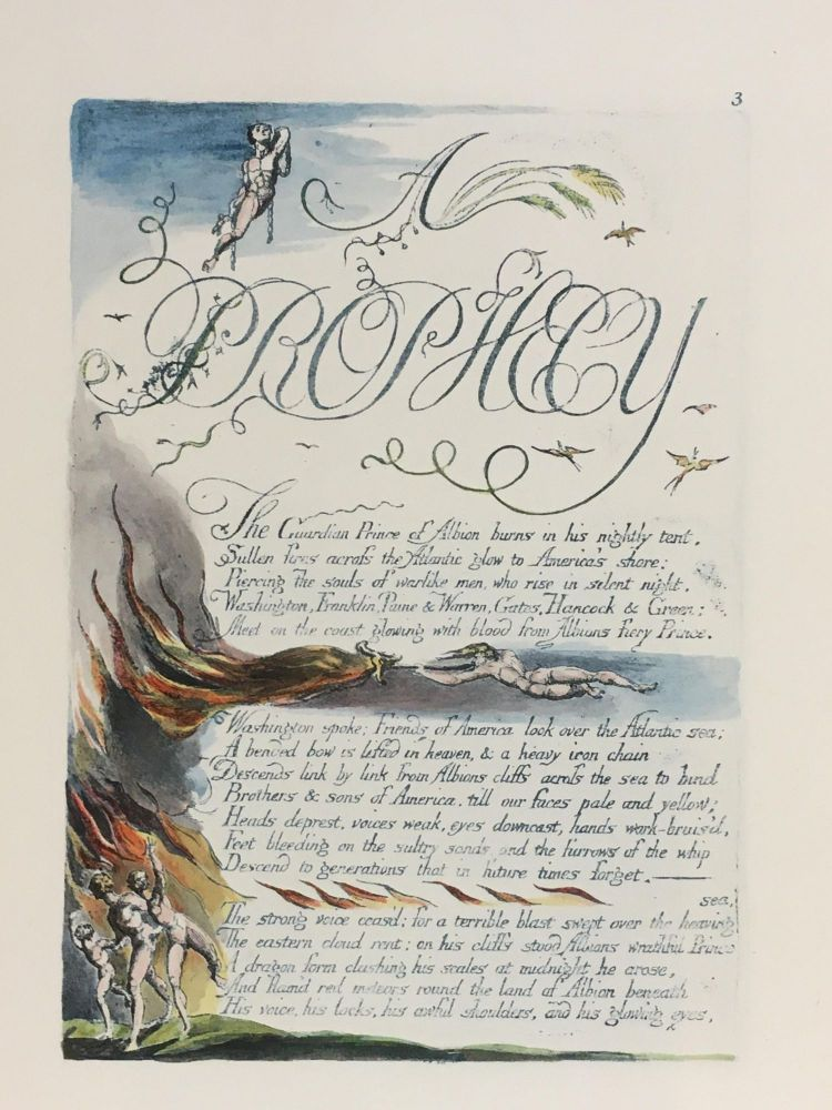 Individual Facsimile Prints from the Trianon Press; America A Prophecy, plate 3. William Blake.