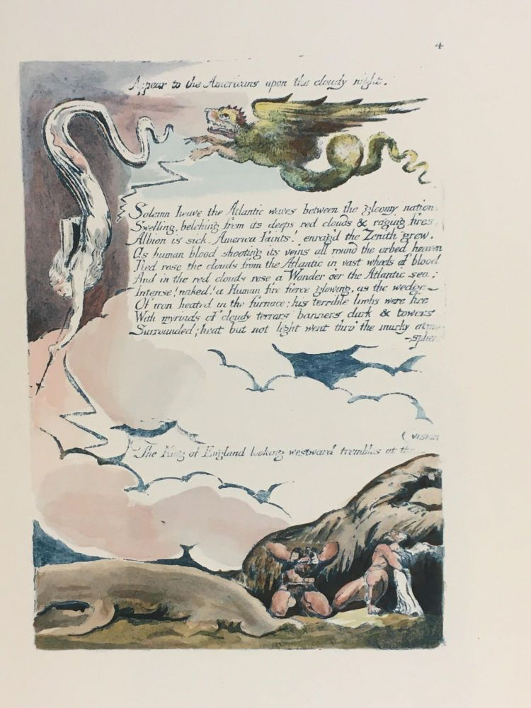 Individual Facsimile Prints from the Trianon Press; America A Prophecy, plate 4. William Blake.