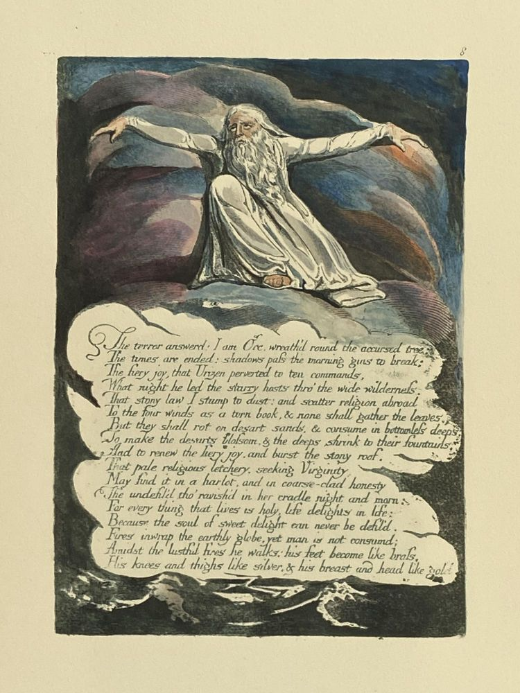 Individual Facsimile Prints from the Trianon Press; America A Prophecy, plate 8. William Blake.