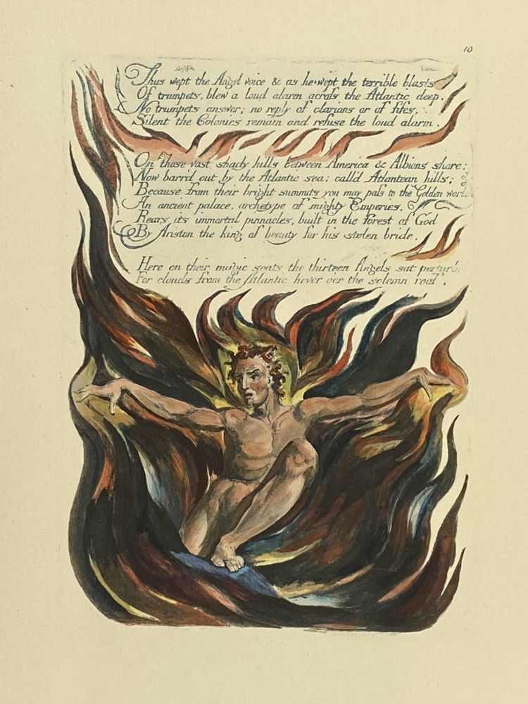 Individual Facsimile Prints from the Trianon Press; America A Prophecy, plate 10. William Blake.