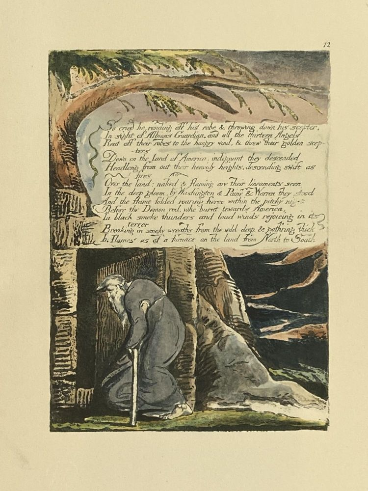 Individual Facsimile Prints from the Trianon Press; America A Prophecy, plate 12. William Blake.