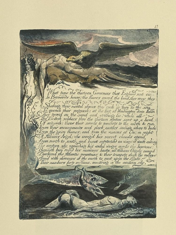 Individual Facsimile Prints from the Trianon Press; America A Prophecy, plate 13. William Blake.