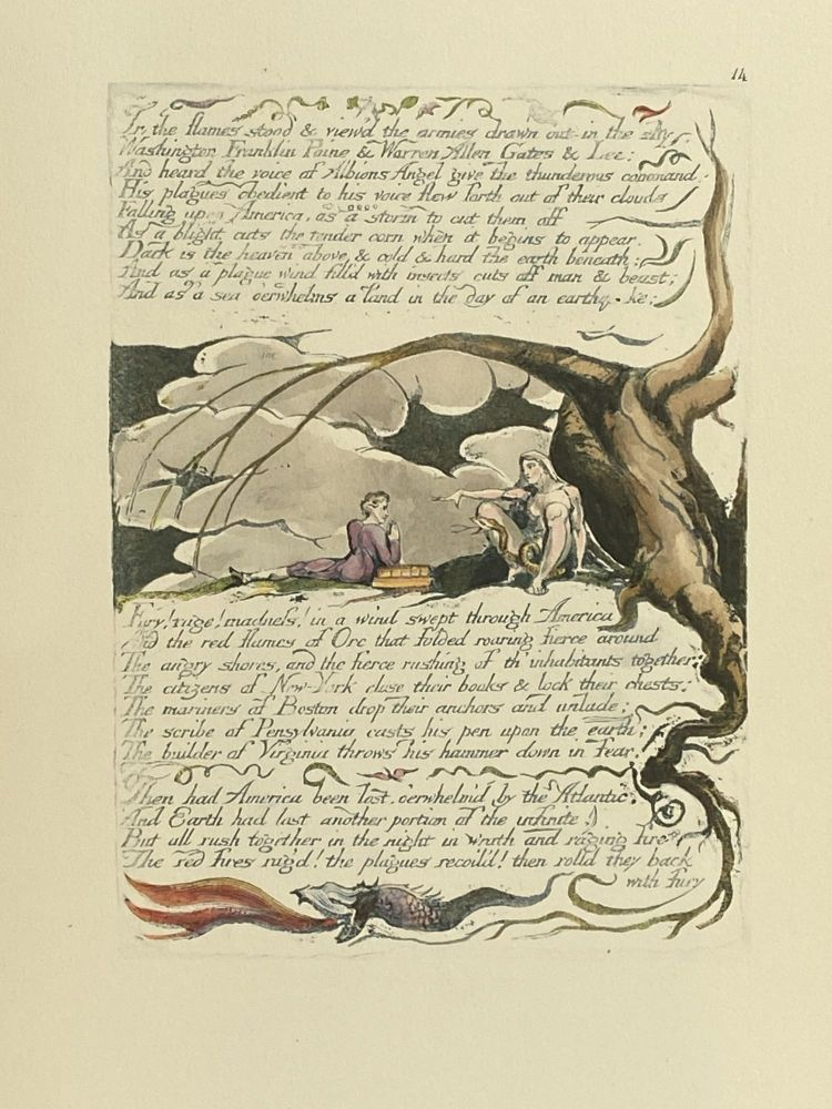 Individual Facsimile Prints from the Trianon Press; America A Prophecy, plate 14. William Blake.