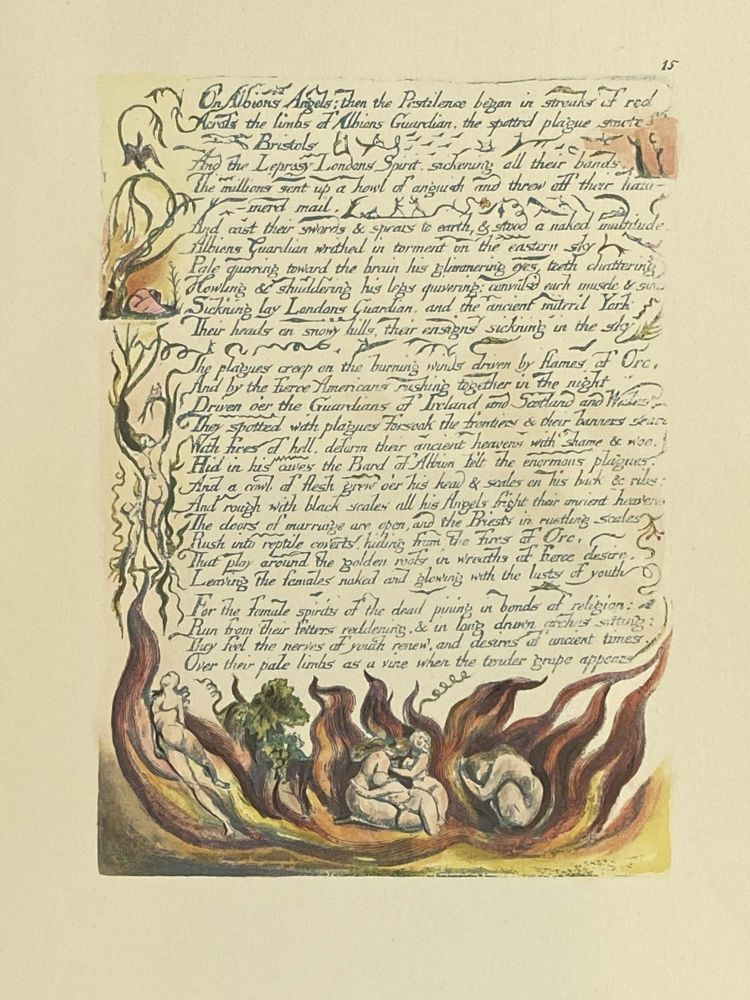Individual Facsimile Prints from the Trianon Press; America A Prophecy, plate 15. William Blake.