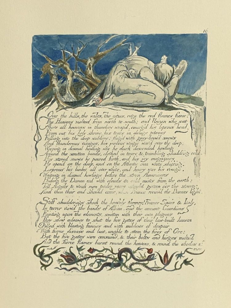 Individual Facsimile Prints from the Trianon Press; America A Prophecy, plate 16. William Blake.