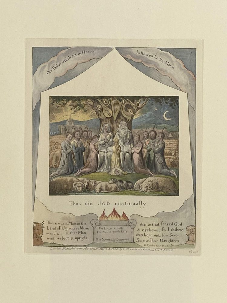 Individual Facsimile Prints from the Trianon Press; The Book of Job, plate 1. William Blake.