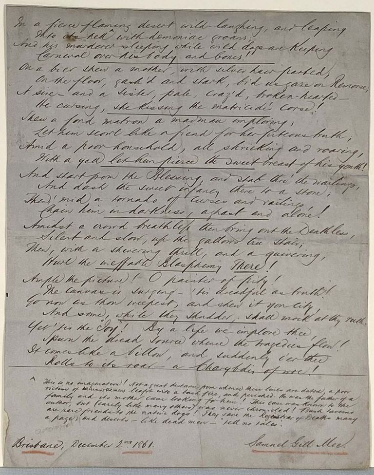 [Manuscript] [Queensland] Unpublished temperance poem that references an unrecorded Bushfire Suicide, composed by well regarded Brisbane compositor, poet, essayist and lecturer. Dated December 1861. Samuel Gill MEE.