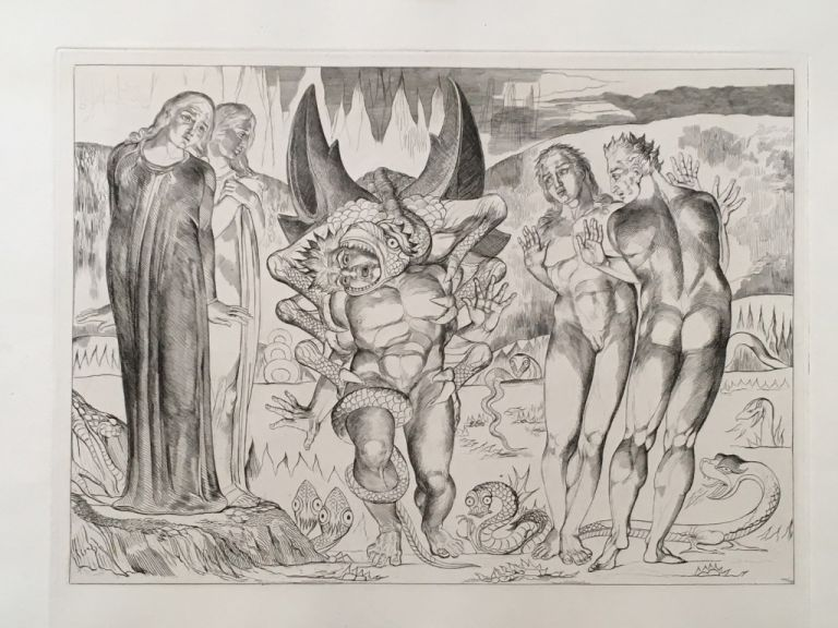 "Blake's Illustrations of Dante. Plate 4: ""Circle of Thieves. Agnolo Brunelleschi Attacked by a six-footed serpent"". Dante. William Blake."