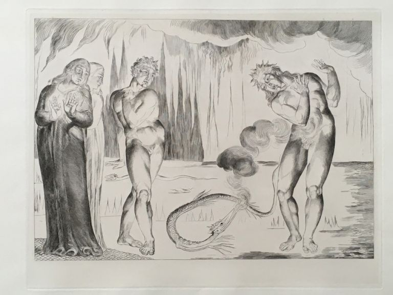 "Blake's Illustrations of Dante. Plate 5: ""Circle of Thieves. Buoso Donati attacked by the Serpent"". Dante. William Blake."
