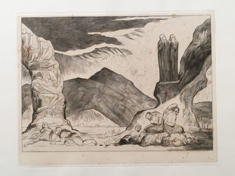 "Blake's Illustrations of Dante. Plate 6: ""Circle of the Falsifiers, Dante and Virgil covering their noses"". Dante. William Blake."