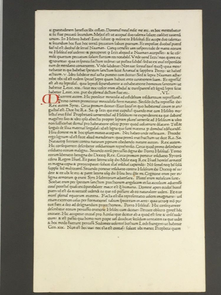 Collection of 20 15th - 17th century leaves, mounted and inserted in portfolio. Hugo de Sancto Caro Nicholas de Lyra, etcetera, Sir Thomas More, Aristotle, Robertus Carraciolus.