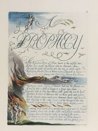Individual Facsimile Prints from the Trianon Press; America A Prophecy, plate 3. William Blake