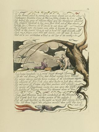 Individual Facsimile Prints from the Trianon Press; America A Prophecy, plate 14. William Blake