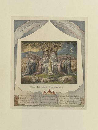 Individual Facsimile Prints from the Trianon Press; The Book of Job, plate 1. William Blake