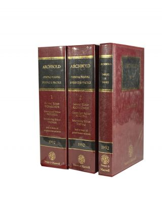 Archbold 1992 ; Criminal Pleading Evidence and Practice. 3 Vol Set. P. J. RICHARDSON, General