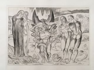 "Blake's Illustrations of Dante. Plate 4: ""Circle of Thieves. Agnolo Brunelleschi Attacked by a..."