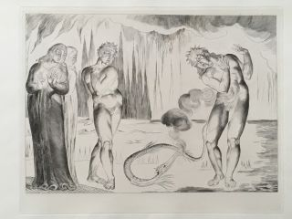 "Blake's Illustrations of Dante. Plate 5: ""Circle of Thieves. Buoso Donati attacked by the..."